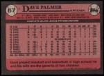 1989 Topps #67  Dave Palmer  Back Thumbnail