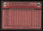 1989 Topps #214  Charlie O'Brien  Back Thumbnail