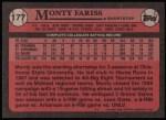 1989 Topps #177   -  Monty Fariss #1 Draft Pick Back Thumbnail