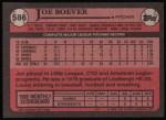 1989 Topps #586  Joe Boever  Back Thumbnail