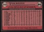 1989 Topps #269  Tom Bolton  Back Thumbnail