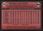1989 Topps #76  Terry Blocker  Back Thumbnail