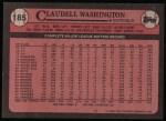 1989 Topps #185  Claudell Washington  Back Thumbnail