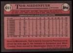 1989 Topps #651  Tom Niedenfuer  Back Thumbnail
