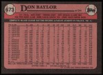 1989 Topps #673  Don Baylor  Back Thumbnail