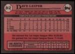 1989 Topps #82  Dave Leiper  Back Thumbnail