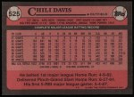1989 Topps #525  Chili Davis  Back Thumbnail