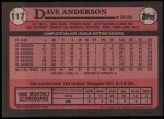 1989 Topps #117  Dave Anderson  Back Thumbnail