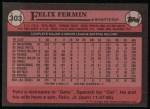 1989 Topps #303  Felix Fermin  Back Thumbnail