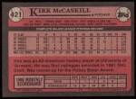 1989 Topps #421  Kirk McCaskill  Back Thumbnail