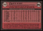 1989 Topps #787  Dave West  Back Thumbnail