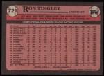 1989 Topps #721  Ron Tingley  Back Thumbnail