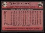 1989 Topps #667  Dwayne Murphy  Back Thumbnail