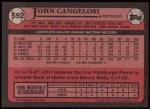 1989 Topps #592  John Cangelosi  Back Thumbnail