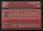 1989 Topps #199  Mike Schooler  Back Thumbnail