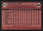 1989 Topps #221  Cecil Espy  Back Thumbnail