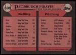 1989 Topps #699   Pirates Leaders Back Thumbnail