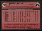 1989 Topps #748  Jimmy Jones  Back Thumbnail
