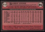 1989 Topps #412  Barry Lyons  Back Thumbnail
