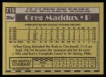 1990 Topps #715  Greg Maddux  Back Thumbnail