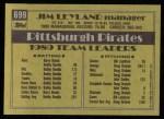 1990 Topps #699  Jim Leyland  Back Thumbnail