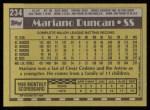 1990 Topps #234  Mariano Duncan  Back Thumbnail