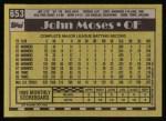 1990 Topps #653  John Moses  Back Thumbnail