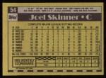 1990 Topps #54  Joel Skinner  Back Thumbnail