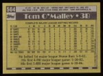 1990 Topps #504  Tom O'Malley  Back Thumbnail