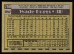 1990 Topps #760  Wade Boggs  Back Thumbnail