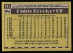 1990 Topps #745  Hubie Brooks  Back Thumbnail