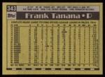 1990 Topps #343  Frank Tanana  Back Thumbnail