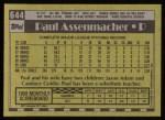 1990 Topps #644  Paul Assenmacher  Back Thumbnail