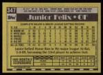 1990 Topps #347  Junior Felix  Back Thumbnail
