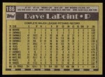 1990 Topps #186  Dave LaPoint  Back Thumbnail
