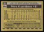 1990 Topps #38  Wes Gardner  Back Thumbnail