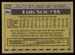 1990 Topps #594  Luis Sojo  Back Thumbnail
