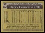 1990 Topps #214  Terry Francona  Back Thumbnail