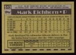 1990 Topps #513  Mark Eichhorn  Back Thumbnail