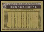 1990 Topps #458  Bob McClure  Back Thumbnail