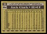 1990 Topps #90  Jack Clark  Back Thumbnail