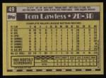 1990 Topps #49  Tom Lawless  Back Thumbnail