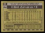 1990 Topps #89  Clint Zavaras  Back Thumbnail