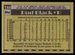 1990 Topps #144  Bud Black  Back Thumbnail