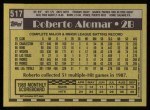 1990 Topps #517  Roberto Alomar  Back Thumbnail