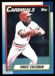 1990 Topps #660  Vince Coleman  Front Thumbnail