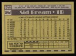 1990 Topps #622  Sid Bream  Back Thumbnail