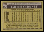 1990 Topps #232  Darnell Coles  Back Thumbnail