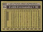 1990 Topps #230  Keith Hernandez  Back Thumbnail