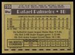 1990 Topps #755  Rafael Palmeiro  Back Thumbnail